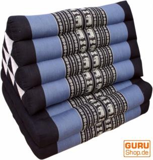 Thaikissen, Dreieckskissen, Kapok, Tagesbett mit 2 Auflagen - schwarz/blau