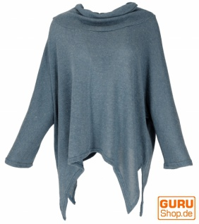Oversize Pullover mit Rollkragen, Feinstrick Pixi Poncho-Pulli - taubenblau