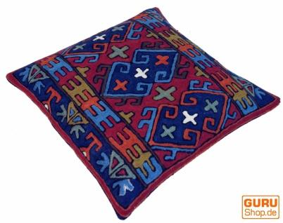 Kelim Kissenhülle `Kaschmir`, bestickter Kissenbezug, Dekokissen aus Wolle - Muster 21