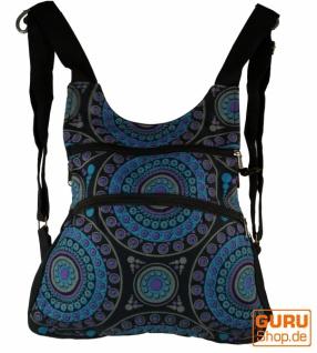 Rucksack, Backpack, Freizeitrucksack, Hippie Rucksack - schwarz/blau