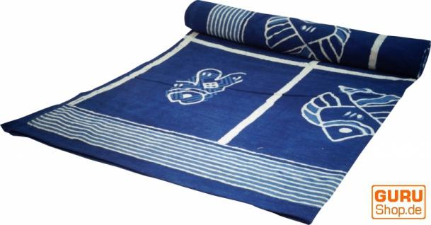 Blockdruck Tagesdecke, Bett & Sofaüberwurf, handgearbeiteter Wandbehang, Wandtuch - indigo Fisch