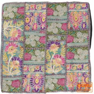Patchwork Kissenhülle, Dekokissen Bezug aus Rajasthan, Einzelstück - Muster 39