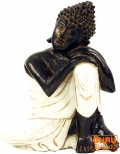 Geschnitzte sitzender Buddha Figur, träumender Buddha - weiß/rechts
