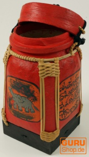Reisbox, Traditionell bemaltes Deko Gefäß aus Rattan - Vorschau 2