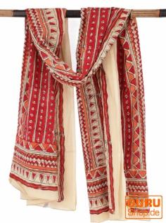 Leichter Pareo, Sarong, handbedrucktes Baumwolltuch - rot Kombination 28