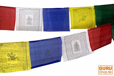 1 Stück Gebetsfahnen (Tibet) mit 10 Wimpeln in verschiedenen Längen, aus Baumwolle mit feinem Druck