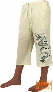 Yogahose, Shorts, Goa Hose bestickt - naturweiß
