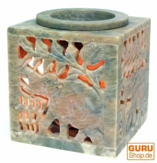 Indische Duftlampe, ätherisches Öl Diffusor, Teelicht Halter für Aromatherapie, Aromalampe aus Speckstein - Würfel Elefant 1 - Vorschau 2