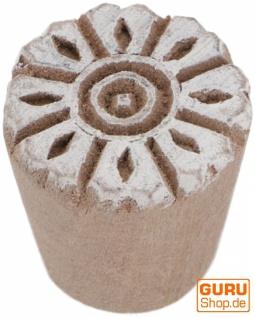 Indischer Textilstempel, Holz Stoffdruckstempel, Blaudruck Stempel, Druck Modell - Ø 2, 5 cm Blüte