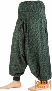 Aladinhose, Yogahose, Pluderhose, Pumphose - schwarz/grün