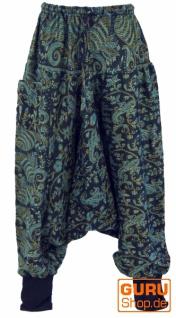 Flauschige Haremshose, Boho Pluderhose, Pumphose, Aladinhose - blau/Paisley