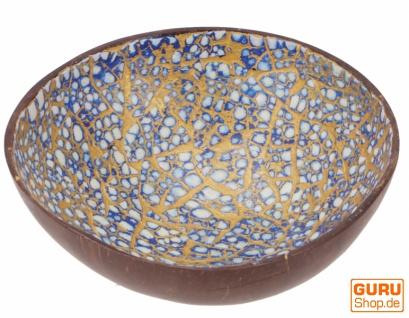 Vergoldete Schale aus Kokosnuss, exotische Dekoschale - blau/weiß
