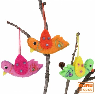 3`er Set bunte, handgemachte Dekovögel aus Filz, Baumbehang, Osterdeko