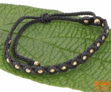Ethno Perlenarmband, Makrameee Armband - schwarz
