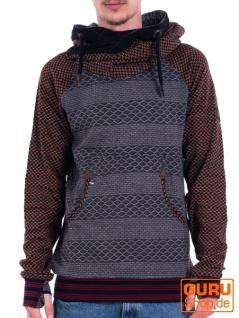 Pullover mit Kapuze aus Bio-Baumwolle / Chapati Design - black/grey