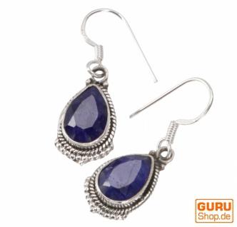 Indische Boho Silberohrringe, tropfenförmige Ohrhänger - Saphir