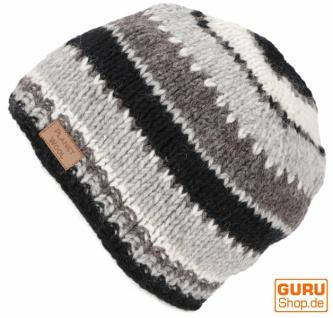 Beanie Mütze, gestreifte Strickmütze aus Nepal - grau/schwarz