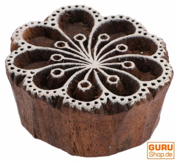 Indischer Textilstempel, Stoffdruckstempel, Blaudruck Stempel, Holz Model - Ø 5 cm Blume 8