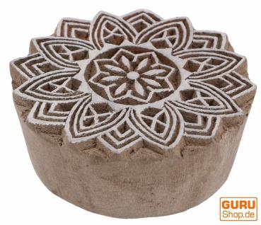 Indischer Textilstempel, Holz Stoffdruckstempel, Blaudruck Stempel, Druck Modell - Ø 6 cm Mandala 2