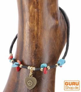 Fußkette Makrameee mit Perlen - Modell 4
