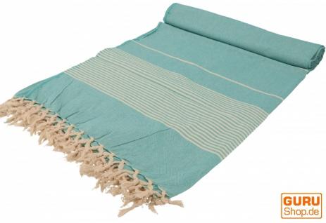 Weiche gewebte double Tagesdecke `Kerala` aus Baumwolle mit Fransen - grün