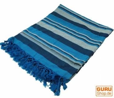Weiche gewebte double Tagesdecke `Kerala` aus Baumwolle mit Fransen - blau/gestreift
