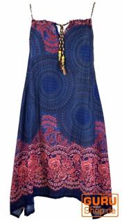 Boho Mandala Midikleid, Trägerkleid, Strandkleid für starke Frauen - blau/fuchsia
