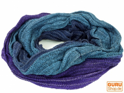 Weicher Loop Schal / Stola, Magic Loopschal, Weste - blau/violett