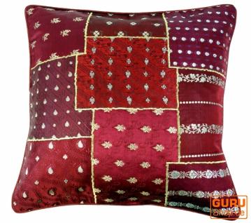 Orientalische Kissenhülle, Kissenbezug Saree Patchwork - rot