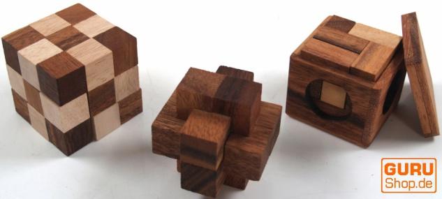 Holzspiel, Geschicklichkeitsspiel, Knobelspiel - 3 Puzzle