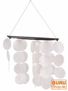 Langes Muschel Windspiel, Klangspiel - weiß