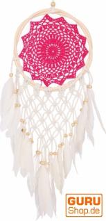 Traumfänger mit gehäkelter Spitze - pink 22 cm
