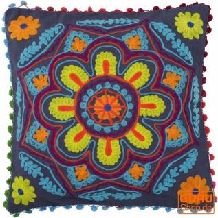 Boho Kissenhülle, farbenfrohes besticktes Folklore Kissen im mexikanischem Style - taubenblau/gelb