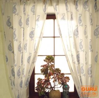 Boho Vorhänge, Gardine (1 Paar ) mit Schlaufen, leicht transparenter handbedruckter ethno Style Vorhang - Muster 2