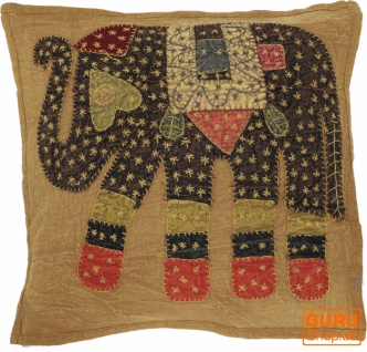 Indische Kissenhülle, besticktes Elefanten Ethnostyle Kissen - caramel