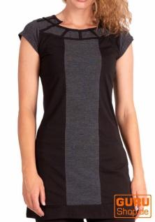 Longtop, Minikleid aus Bio-Baumwolle / Chapati Design - black