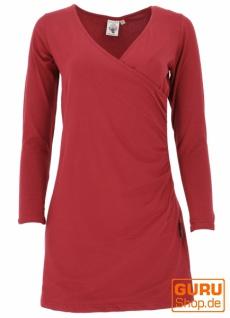 Minikleid aus Bio-Baumwolle in Wickeloptik mit langem Arm, Basic Kleid Organic - paprika