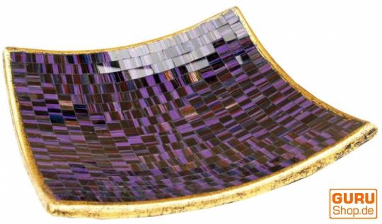 Eckige Mosaikschale, Untersetzer, Dekoschale, handgearbeitete Keramik & Glas Obst Schale - Design 11