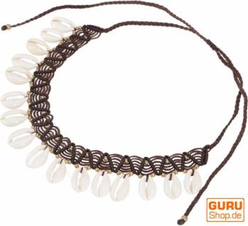 Ethno Kette, Tribal Goa Muschel Collier - braun