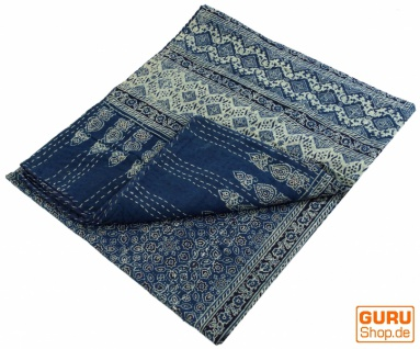 Quilt, Steppdecke, Tagesdecke Bettüberwurf, Besticktes Tuch, Indischer Bettüberwurf, Tagesdecke - Muster 17