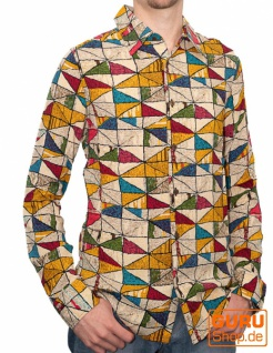 Langärmliges Hemd / Chapati Design - yellow diamond
