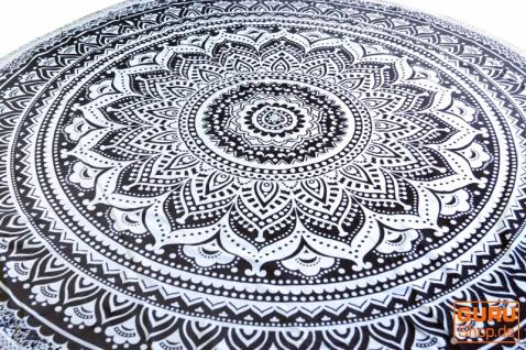 Rundes indisches Mandala Tuch, Boho Tagesdecke, Picknickdecke, Stranddecke, runde Tischdecke - weiß/schiefer