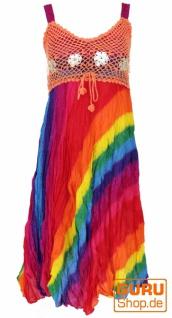 Boho Minikleid, Sommerkleid, Krinkelkleid - regenbogen/orange
