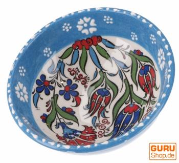 1 Stk. Orientalische Keramikschüssel, Schale, Müslischale, handbemalt - Ø 13 cm / hellblau