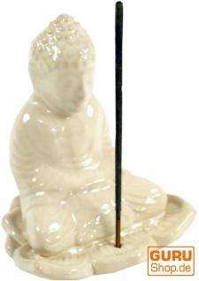 Räucherstäbchenhalter Buddha aus Keramik weiß - Modell 19