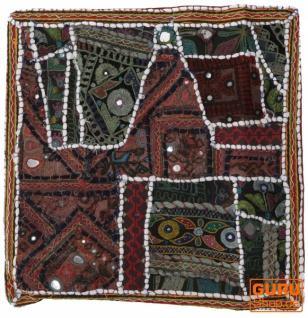 Patchwork Kissenhülle, Dekokissen Bezug aus Rajasthan, Einzelstück - Muster 6