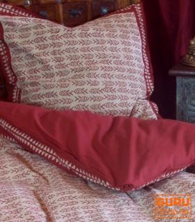 Handbedruckte Blockdruck Bettwäsche aus Baumwolle - Motiv 2 (single 135*200 cm)