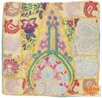 Patchwork Kissenhülle, Dekokissen Bezug aus Rajasthan, Einzelstück - Muster 44