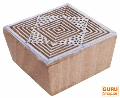Indischer Textilstempel, Stoffdruckstempel, Blaudruck Stempel, Holz Model - 5*5 cm Spirale 3