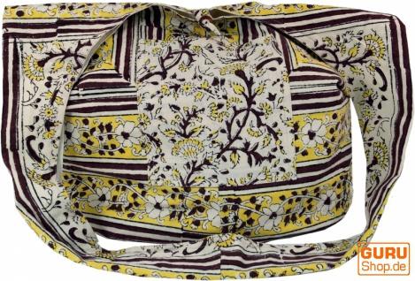 Sadhu Bag, Umhängetasche, Blockdruck Hippie Schultertasche - weiß/gelb/braun